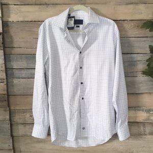 DAVID DONAHUE Trim Fit White Blue Check Shirt